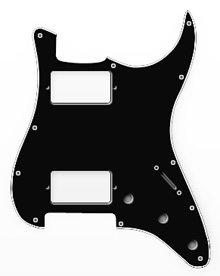 009-1104-000 - Fender HH Stratocaster Black 3 Ply 11 Hole Pickguard
