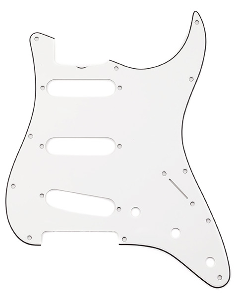 009-4392-049 - Genuine Fender 1965 Strat Eggshell 3 Ply 11 Hole Pickguard