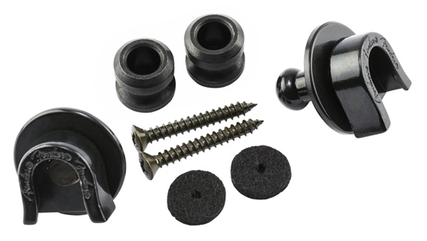 099-0690-006 Genuine Fender Black Strap Locks and Buttons