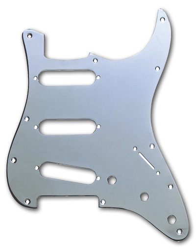099-1360-100, 0991360100 - Fender Stratocaster Chrome 1 Ply 11 Hole Pickguard