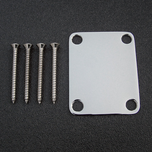 099-1447-100 Genuine Fender Stratocaster Vintage Original Plain Chrome Neck Plate