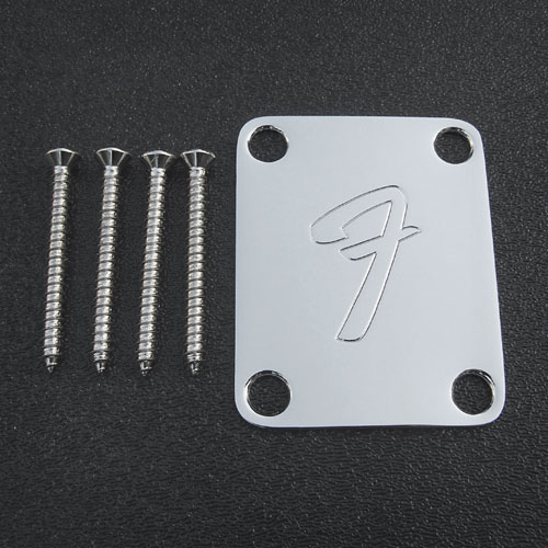 099-1448-100 Genuine Fender '70s Strat F Logo Chrome Neck Plate