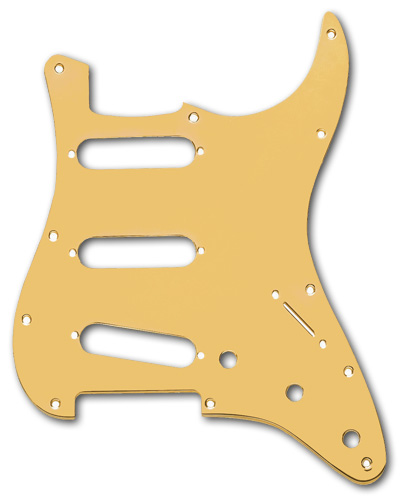 099-2139-000, 0992139100 - Fender Stratocaster Gold Anodized Aluminum 1 Ply 11 Hole Pickguard