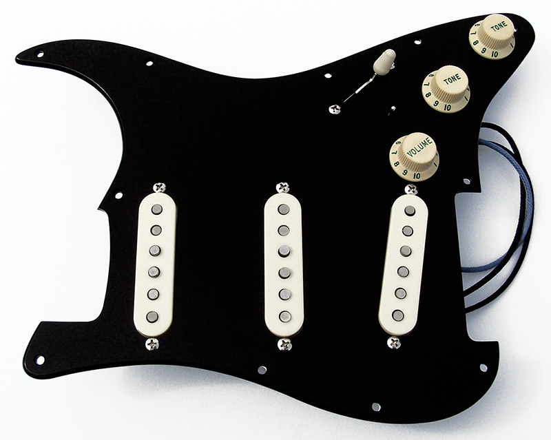 Custom built gilmour style complete black strat pickguard assembly complete pickguard assembly shown with the combination selection of accessory colors with aged white control knobs parchment pickup covers and parchment cheapraybanclubmaster Images