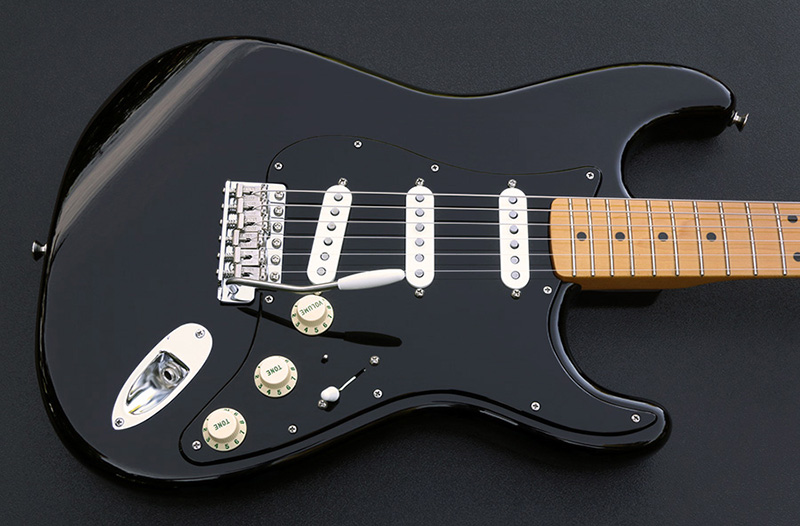 Custom built gilmour style complete black strat pickguard assembly completed strat shown with our gilmour style black strat pickguard assembly installed sciox Images