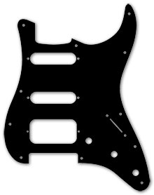 Black 1 Ply 0.120'' Acrylic HSS Pickguard Rounded and Polished Edge