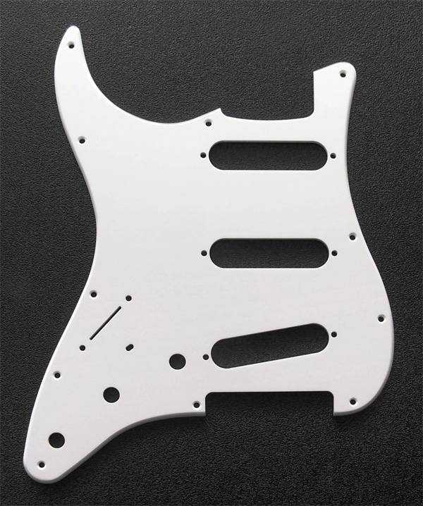Left Hand Custom Manufactured White 1 Ply 0.120'' Acrylic SSS Pickguard Rounded Polished Edge