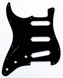 "Left Handed Black 1 Ply 0.120"" Acrylic Pickguard with Rounded and Polished Edge"