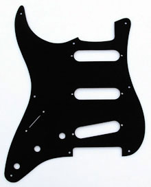 LEFT HANDED Black 1 Ply 0.120'' Acrylic Pickguard with Rounded and Polished Edge 8 Hole
