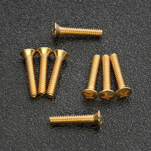 GS-0064-B02 Gold Plated Phillips Oval Head Pickup and Selector Switch Mounting Screws #6-32 x 3/4