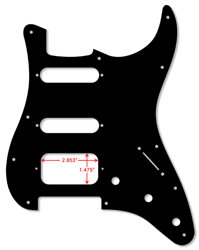 Black 1 Ply 0.120'' Acrylic Pickguard with Rounded and Polished Edge, HSS
