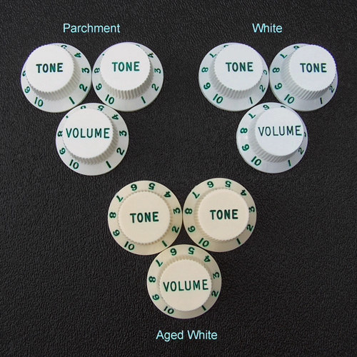 Customized Strat Knob Sets, Green Letters and Numbers