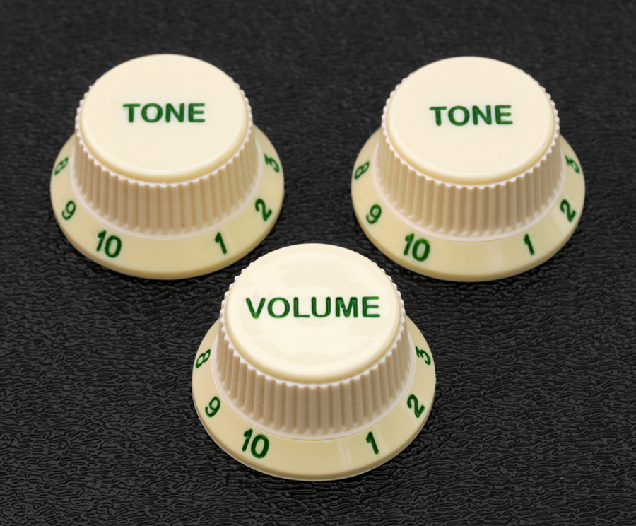 Vintage Mint Green Strat Knob Set 1V2T Gold Letters 3 Spokes fits to Strat®