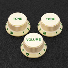 Customized Soft Touch Stratocaster Knob Set With Green Letters and Numbers